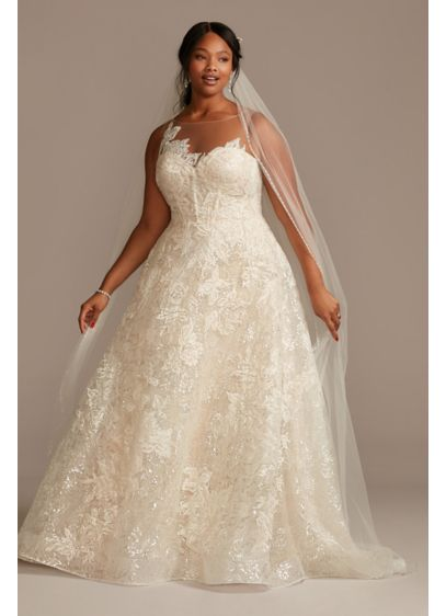 Applique Plus Size Wedding Dress with Button Back - This corseted wedding dress features a luxurious lace