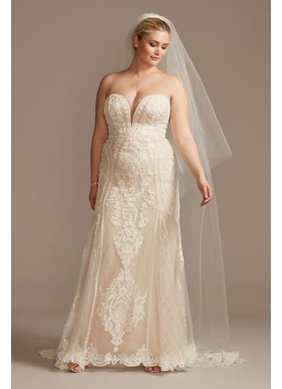Scroll and Lace Mermaid Plus Size Wedding Dress - This curve-hugging, layered lace wedding dress is beautifully