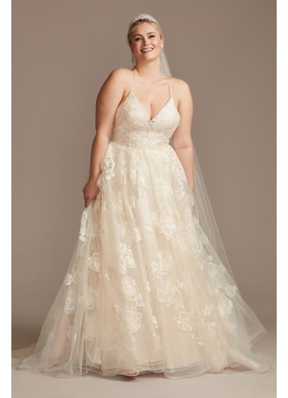 Floral Applique Bead Strap Plus Size Wedding Dress - Crafted with eleven different types of lace and