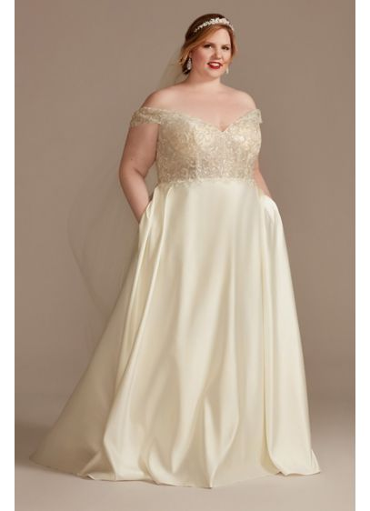 Beaded Bodice Off Shoulder Plus Size Wedding Dress - More than 20,000 beads cover the sheer, off-the-shoulder