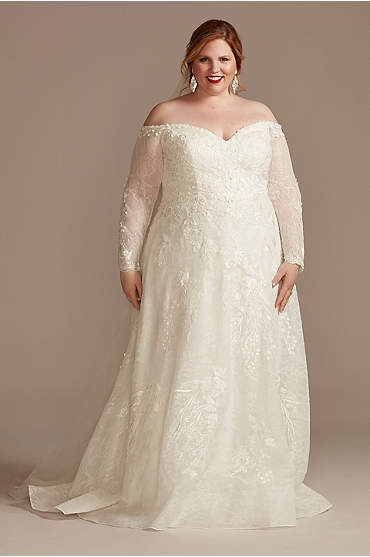 Leafy Lace Off Shoulder Plus Size Wedding Dress