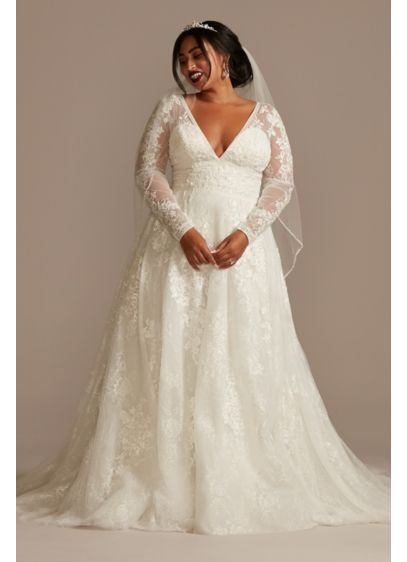 Lace Long Sleeve Open Back Plus Size Wedding - Fit for royalty, this elegant tulle ball gown
