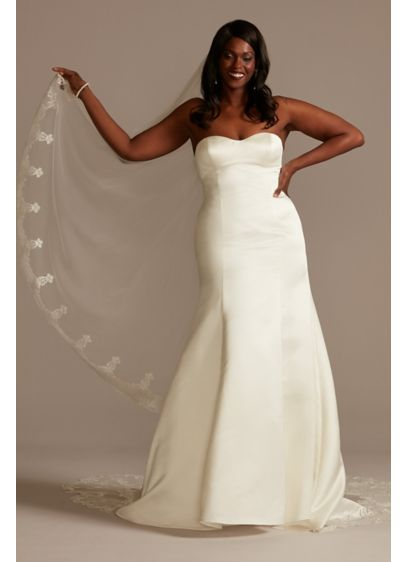 Satin Plus Size Wedding Dress with Cathedral Train - You may be mistaken for royalty when wearing