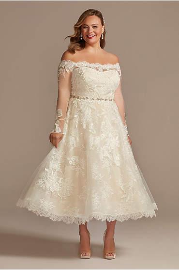 Off Shoulder Applique Plus Size Wedding Dress