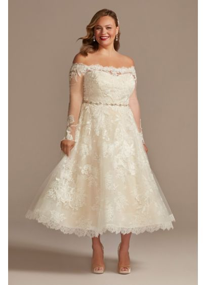 Off Shoulder Applique Plus Size Wedding Dress - This tea-length wedding dress is detailed with three