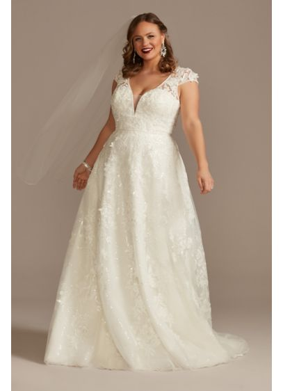 Cap Sleeve 3D Floral Lace Plus Size Wedding - This sequin lace A-line wedding dress is full