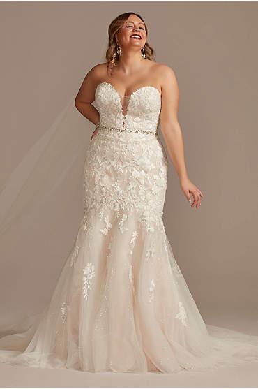 Lace Applique Mermaid Plus Size Wedding Dress