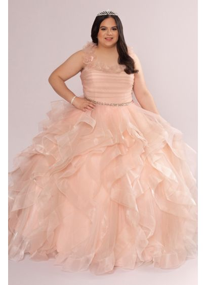 Plus Convertible Ruffle Tulle Quince Dress - Your quincea era dress, a tu manera. This