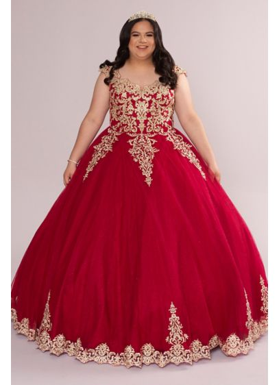 Plus Metallic Lace Tulle Quince Dress with Keyhole - Feel and look like royalty in this dramatic