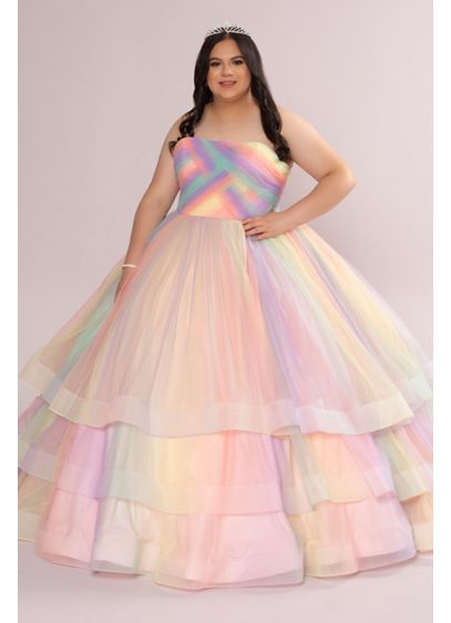 Plus Multicolor 3-Tier Corset Quince Dress - If you live your life in technicolor, this