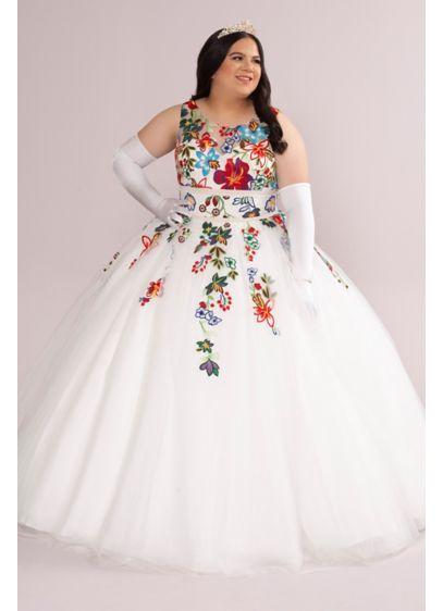 Plus Floral Lace Applique Quince Dress - This quincea era dress bursts with elegance! Turn