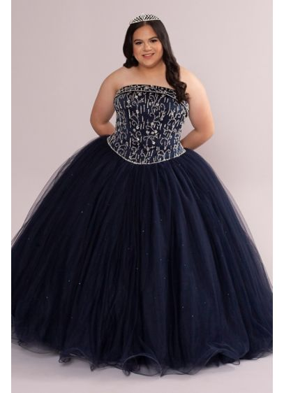 Plus Beaded and Satin Tulle Strapless Quince Dress - A classic quinceanera dress that screams
