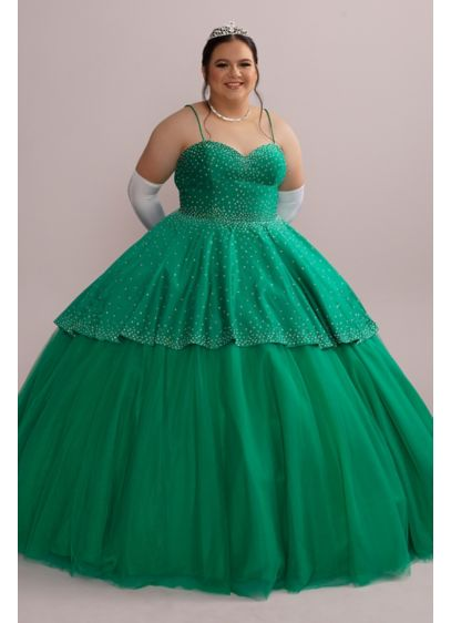 Embellished Plus Quince Gown with Detachable Skirt - Nearly 5,000 crystals adorn this two-in-one quinceanera gown,