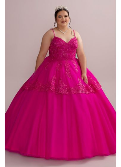 Corded Lace Plus Size Quince Ball Gown with - Mesmerize your guests in this vibrant quinceanera gown,