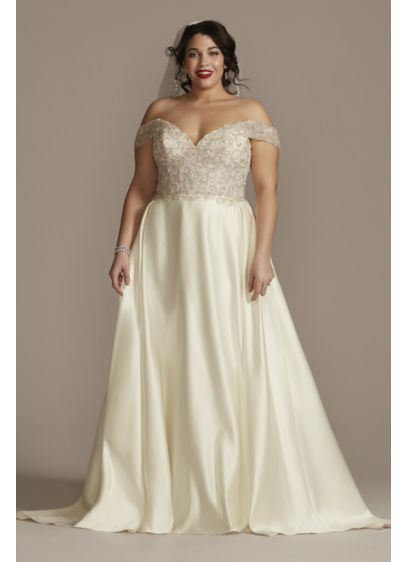 Off Shoulder Beaded Satin Plus Size Wedding Dress - More than 200,000 beads cover the off-the-shoulder bodice