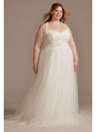 Convertible Straps Draped Plus Size Wedding Dress - This hand-draped tulle wedding dress offers multiple gown