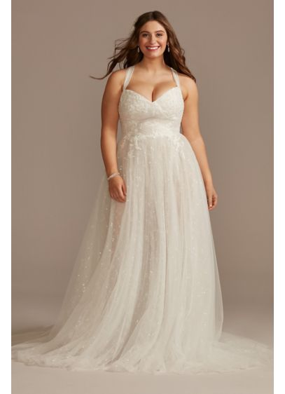 Convertible Strap Plus Size Bodysuit Wedding Dress - This hand-draped tulle wedding dress offers multiple gown