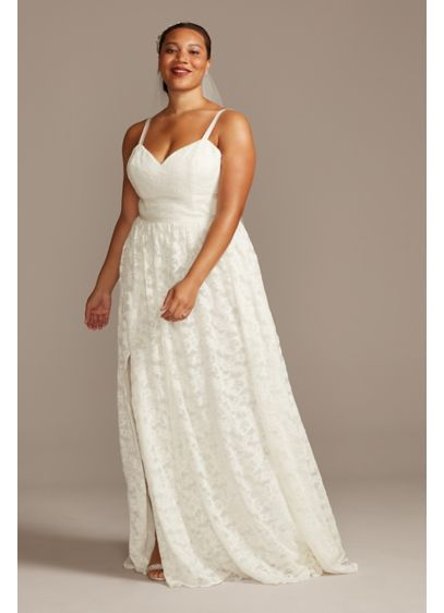 Grosgrain Banded Lace Plus Size Wedding Dress - Enhanced with elevated, sultry details, this stretch lace