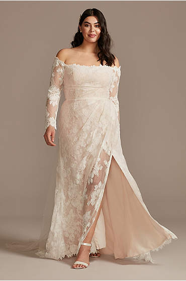 Floral Lace Long Sleeve Plus Size Wedding Dress