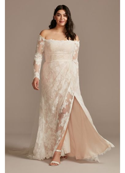 Floral Lace Long Sleeve Plus Size Wedding Dress - You'll be a vision of loveliness in this