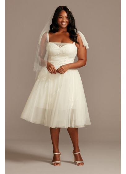 Love Note Short Tulle Plus Size Wedding Dress - Embroidered with words of love, this fun wedding