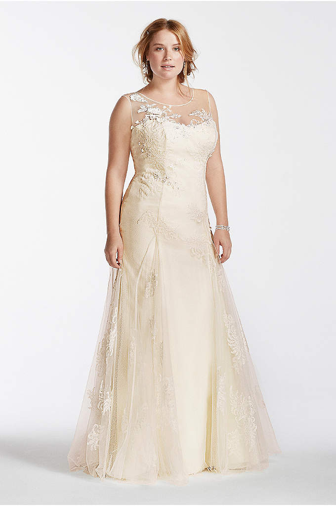 Melissa Sweet Beaded Tank Plus Size Wedding Dress