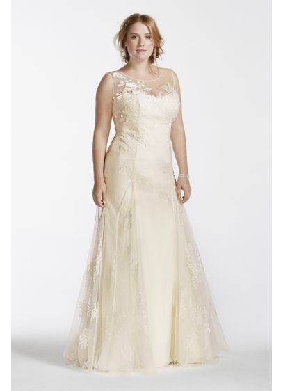 Melissa Sweet Beaded Tank Plus Size Wedding Dress - Walk down the aisle in this breathtakingly romantic