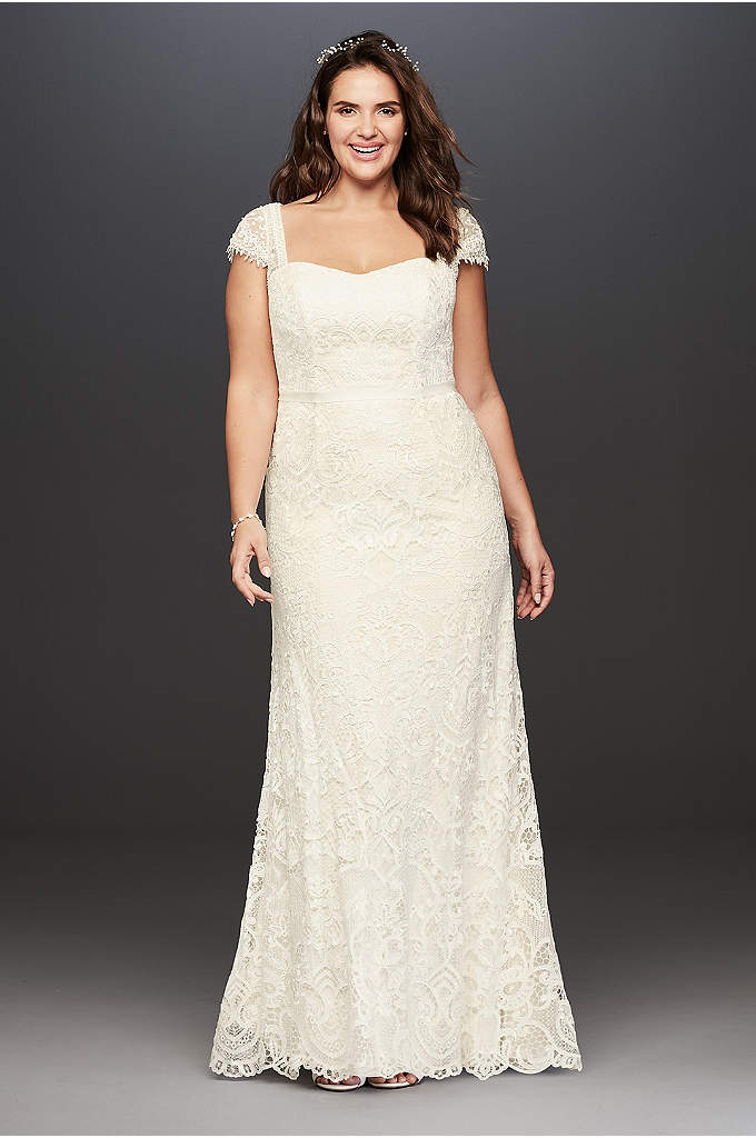 Melissa Sweet Vintage Lace Plus Size Wedding Dress - This vintage, romantic sheath is ultra feminine and