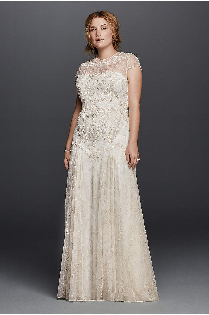 Melissa Sweet Wedding Dress with Cap Sleeves - A trip to Morocco inspired the gilded motif