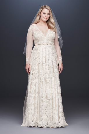 Melissa Sweet Linear Lace Plus Size Wedding Dress - Romantic lace gets a fresh take on this