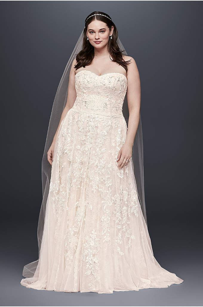 Melissa SweetLace A-Line Plus Size Wedding Dress - Soft panels of floral and scalloped lace fall