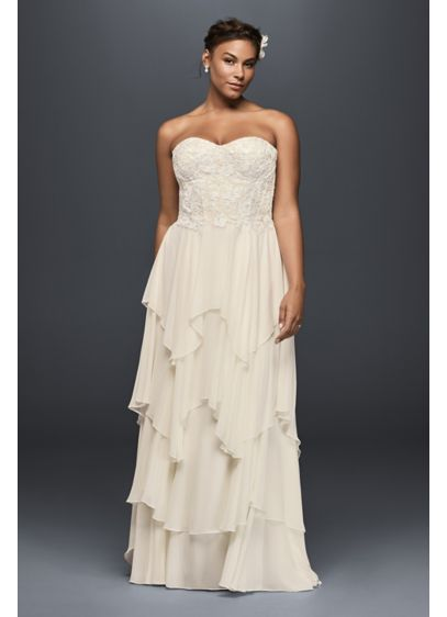 Tiered Chiffon Plus Size A-Line Wedding Dress