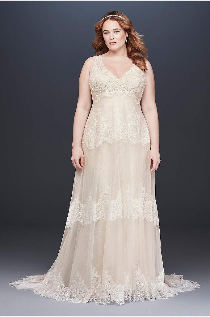 Banded Eyelash Lace V-Neck Plus Size Wedding Dress - This two-piece Melissa Sweet wedding gown features a