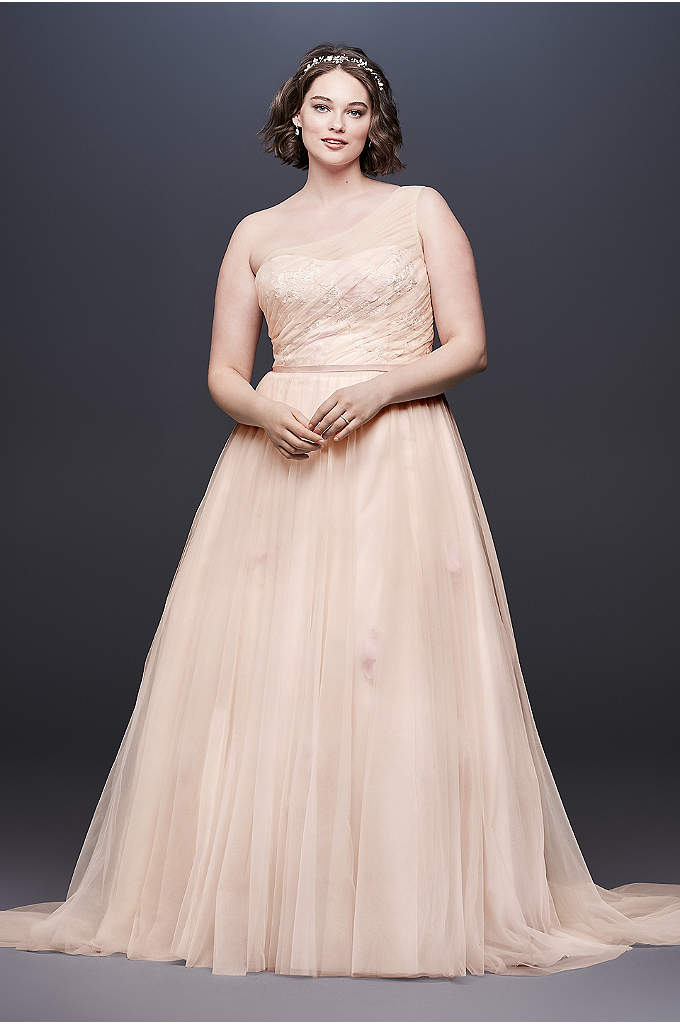 Floating Flower A-Line Plus Size Wedding Dress - Show off your romantic side in this one-shoulder