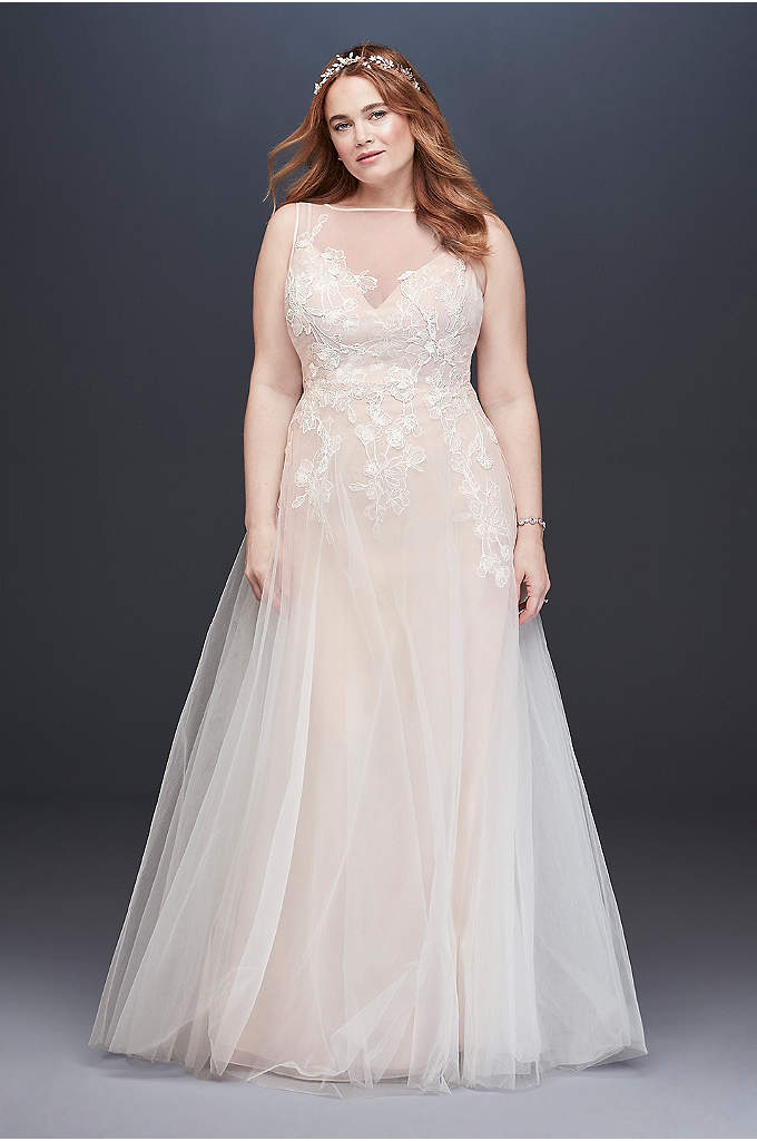 Embroidered Floral Tulle Plus Size Wedding Dress - As light and airy as a cloud, this