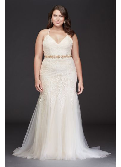 Cross-Back Chantilly Lace Plus Size Wedding Dress - This beaded Chantilly lace mermaid plus-size wedding dress