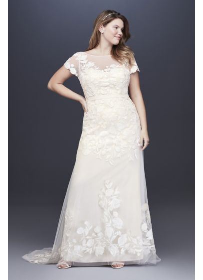 Floral Illusion Cap Sleeve Plus Size Wedding Dress - A modern sheath with a vintage feel, this