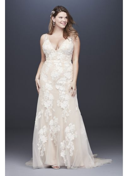 Deep V Plus Size Wedding Gown with Floral - The height of elegance, this plus-size trumpet wedding