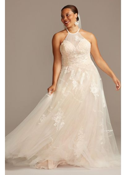 Shirred Embroidered Poem Plus Size Wedding Dress - This shirred tulle wedding dress takes romance to