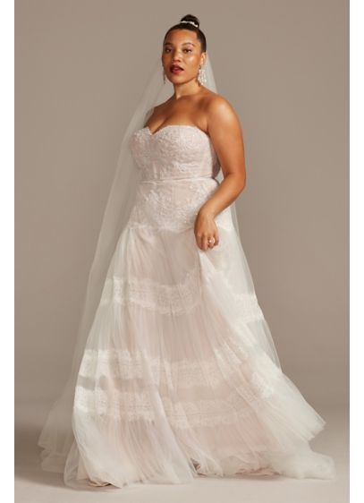 Banded Lace Point D'Esprit Plus Size Wedding Dress - This irresistible wedding dress combines vintage-inspired details with