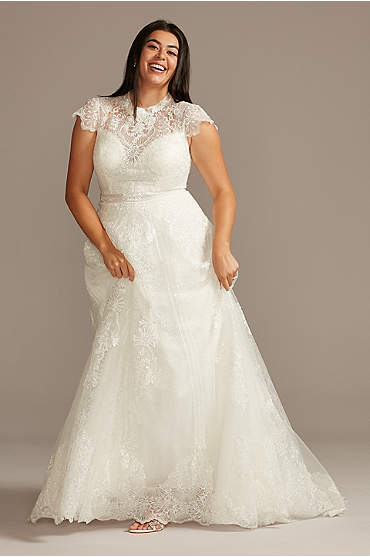 Embroidered Mock Neck Plus Size Wedding Dress