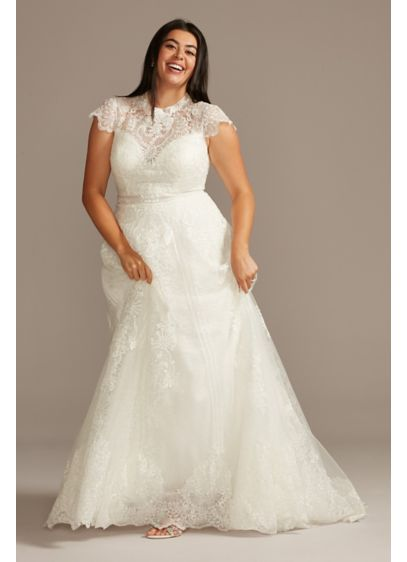 Embroidered Mock Neck Plus Size Wedding Dress - Ornate lace and floral applique is layered atop