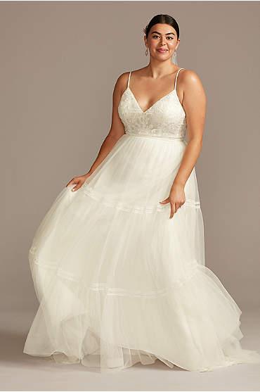 Corset Tiered Chiffon Plus Size Wedding Dress