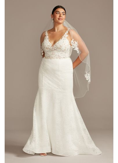 Floral Illusion V-Back Plus Size Wedding Dress - Dramatically embroidered floral appliques look like they're floating