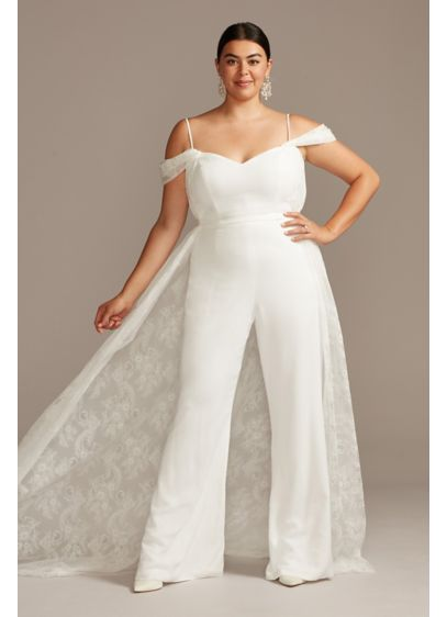 Off-Shoulder Plus Size Wedding Jumpsuit with Train - Crafted from luxurious crepe, this romantic jumpsuit is