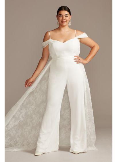 Off Shoulder Plus Size Wedding Jumpsuit With Train David S Bridal