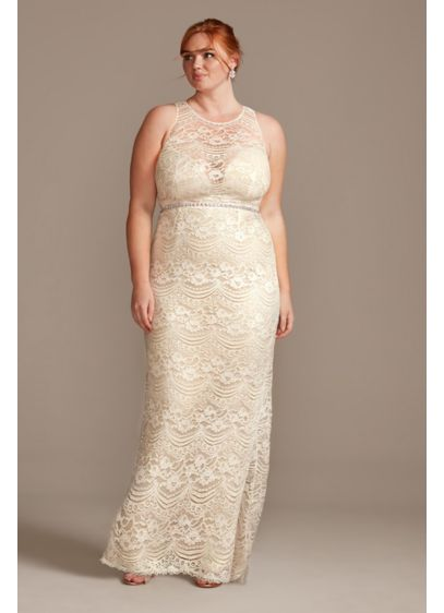 Plunge Illusion Chantilly Plus Size Wedding Dress - Chantilly lace forms a high illusion neckline on