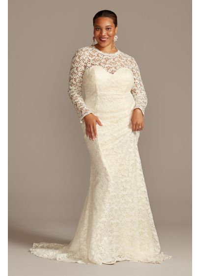Long Sleeve Venice Lace Plus Size Wedding Dress - Crafted of crocheted Venice lace, this romantic curve-hugging