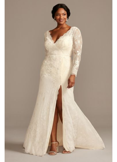 Illusion Sleeve Faux Wrap Plus Size Wedding Dress - Romantic boho vibes meet modern simplicity in this