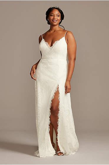 Leaf Pattern Lace A-Line Plus Size Wedding Dress